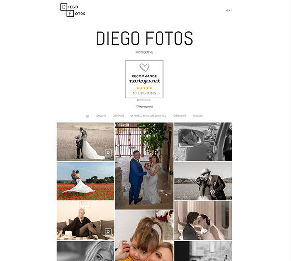 Diégos Fotos - Site WordPress - SEO - charte graphique